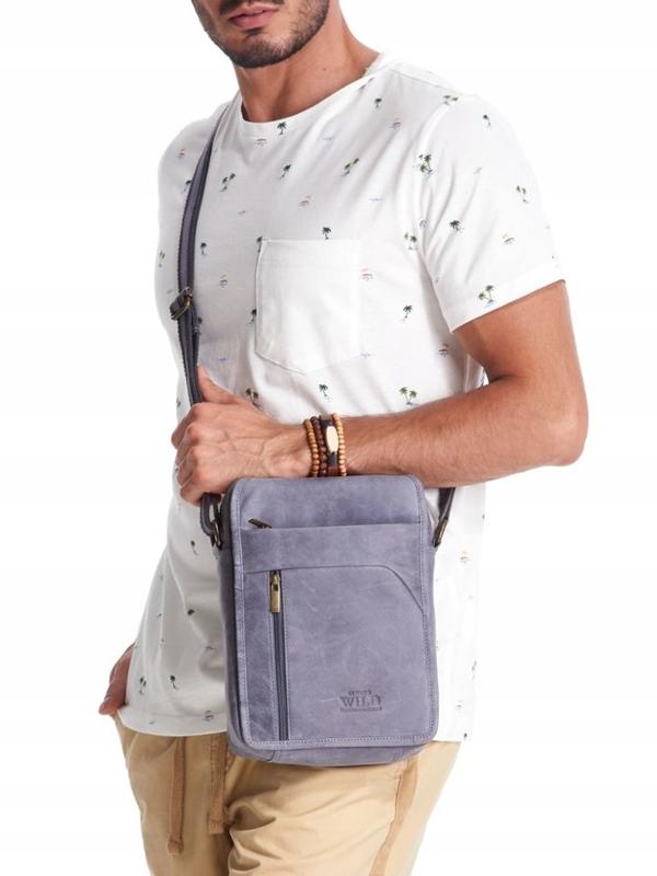 Tmavomodrá pánska kožená taška 2452