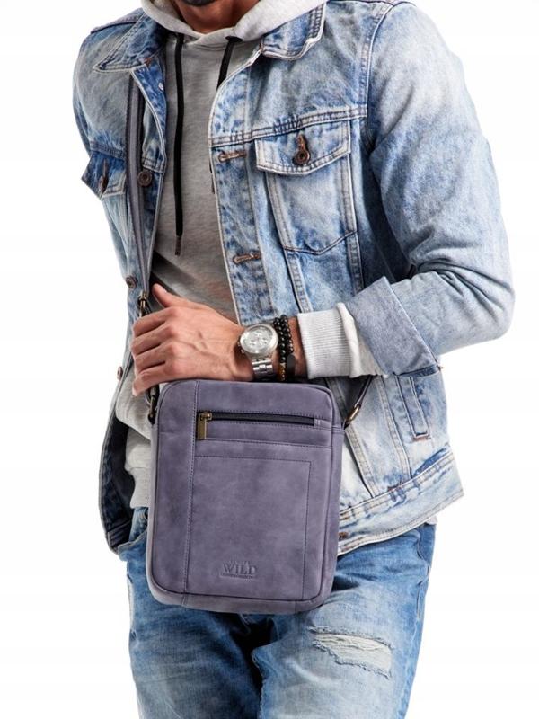 Tmavomodrá pánska kožená taška 2521