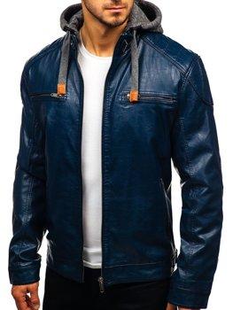 Tmavomodrá pánska koženková bunda BOLF ex706