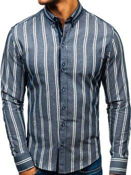 Tmavomodrá pánska prúžkovaná košeľa s dlhými rukávmi BOLF 8836