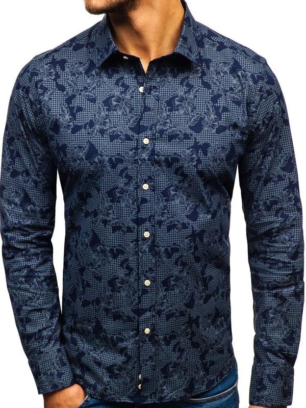 Tmavomodrá pánska vzorovaná košeľa s dlhými rukávmi BOLF 210G17