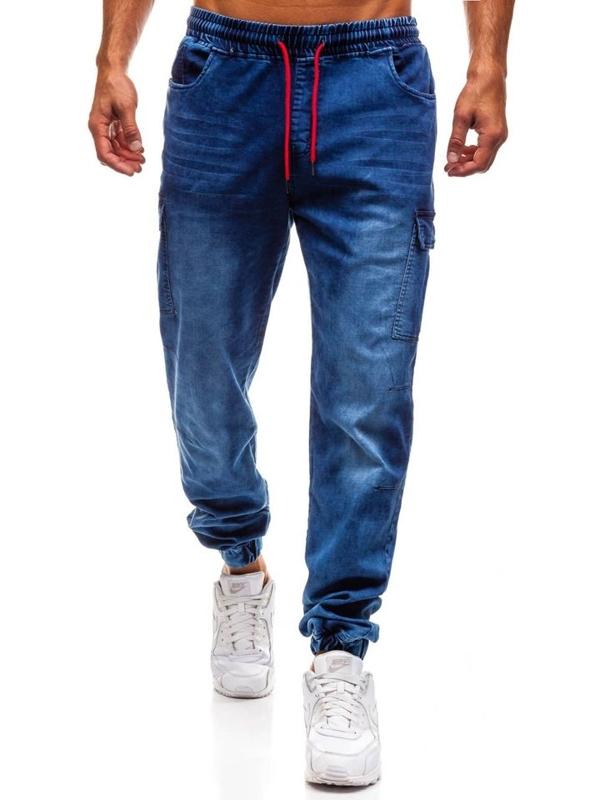 Tmavomodré pánske riflové jogger nohavice BOLF Y231