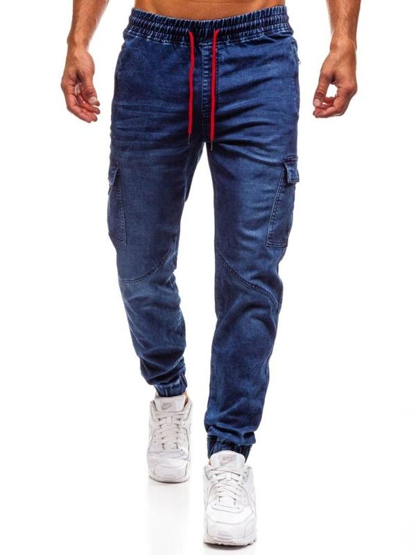 Tmavomodré pánske riflové jogger nohavice BOLF Y264