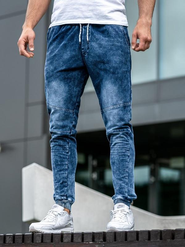 Tmavomodré pánske rifľové joggery Bolf KK1022