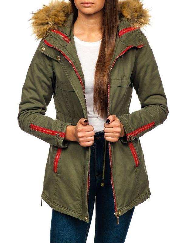 Zelená dámska zimná bunda BOLF M888