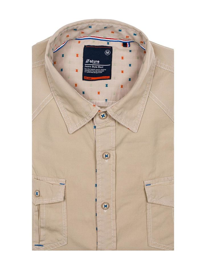 fe8a61783 Béžová pánska košeľa s krátkymi rukávmi BOLF 3276