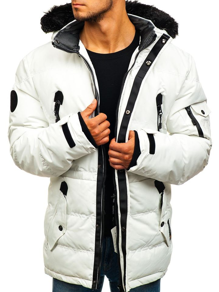 Biela pánska lyžiarska zimná bunda parka BOLF 5423 5ffeb6d47fb