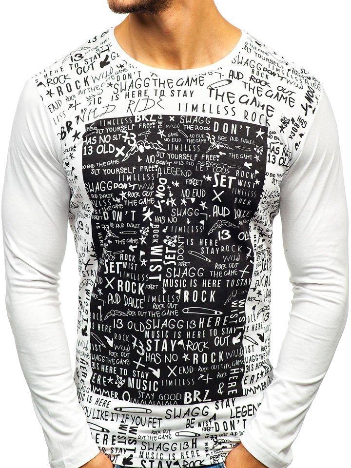 75f2b4b6c20ad Biele pánske tričko s dlhými rukiávmi s potlačou BOLF 1213-A