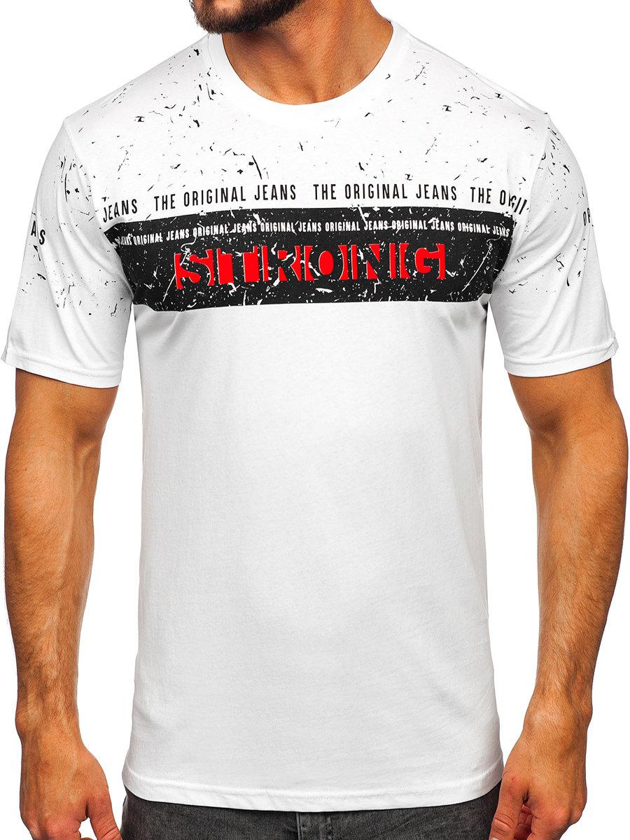 b1be06ab3ff55 Biele pánske tričko s potlačou BOLF 14204