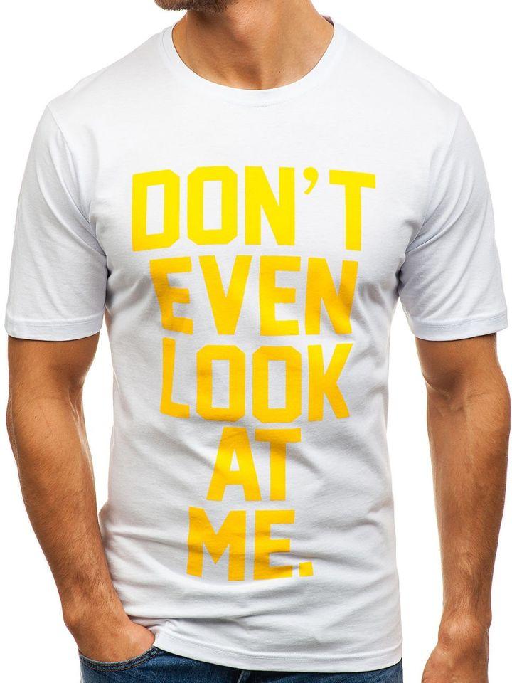 02f14c3a480a Biele pánske tričko s potlačou BOLF 6294