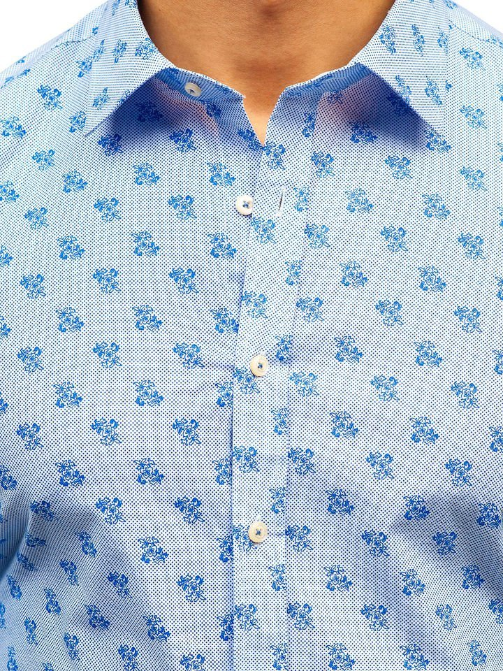 ab10e0a5af5c Bielo-modrá pánska vzorovaná košeľa s dlhými rukávmi BOLF 300G36