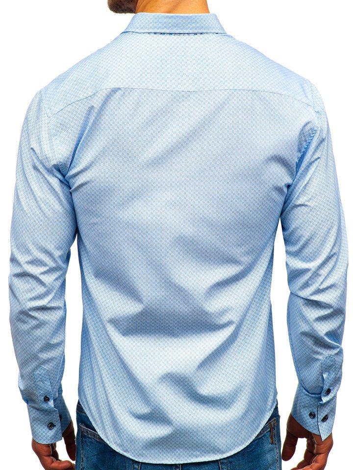 ded289fe023a Bielo-modrá pánska vzorovaná košeľa s dlhými rukávmi BOLF 9703
