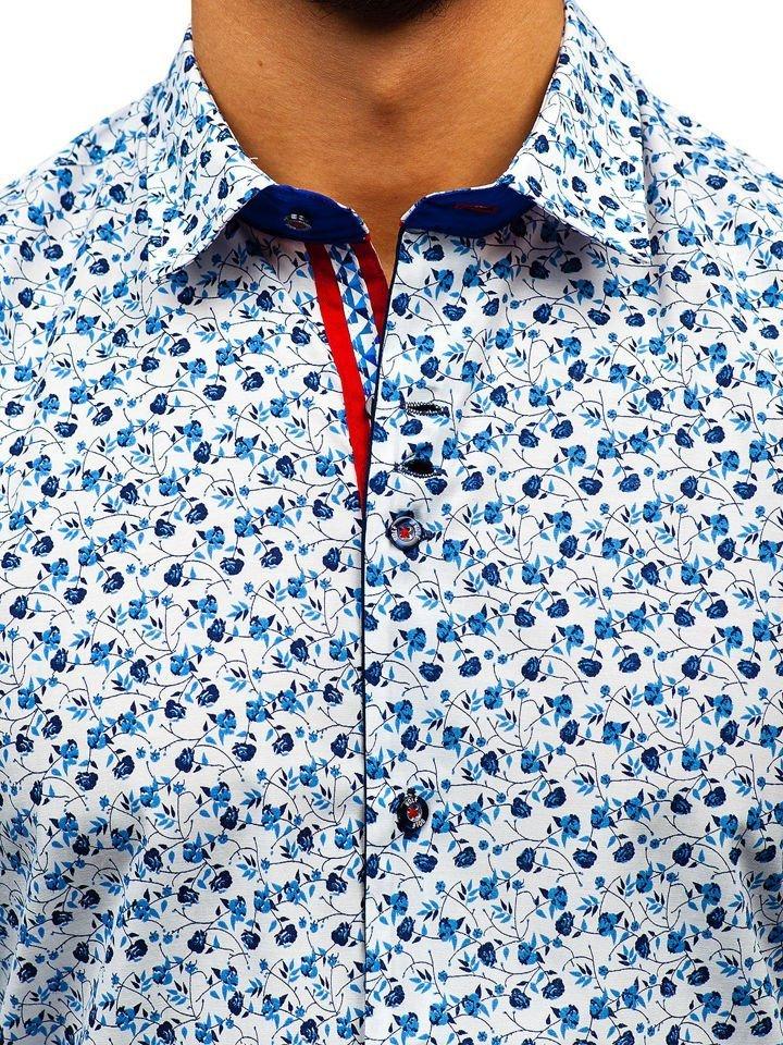 f6b85304f196 Bielo-modrá pánska vzorovaná košeľa s dlhými rukávmi BOLF 9705