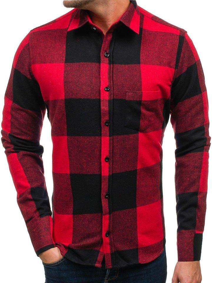 0208dc8406e3 Červená pánska flanelová košeľa s dlhými rukávmi BOLF 801