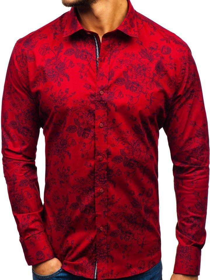 e73b8ba9fa7a Červená pánska vzorovaná košeľa s dlhými rukávmi BOLF 470G19