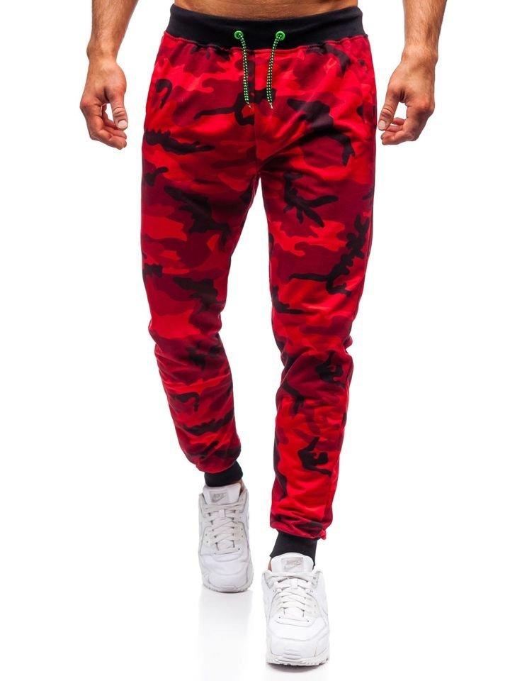 b11d4ac531 Červené maskáčové pánske teplákové joggery BOLF MK19