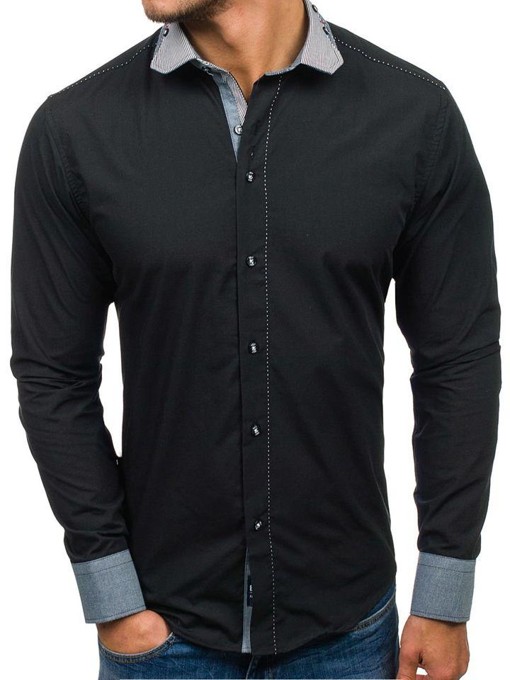 ba1925e84fdc Čierna pánska elegantná košeľa s dlhými rukávmi BOLF 6962