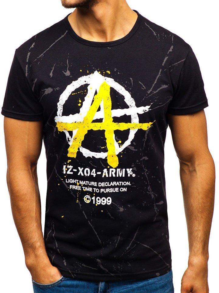 b7829e098f66 Čierne pánske tričko s potlačou BOLF 100661