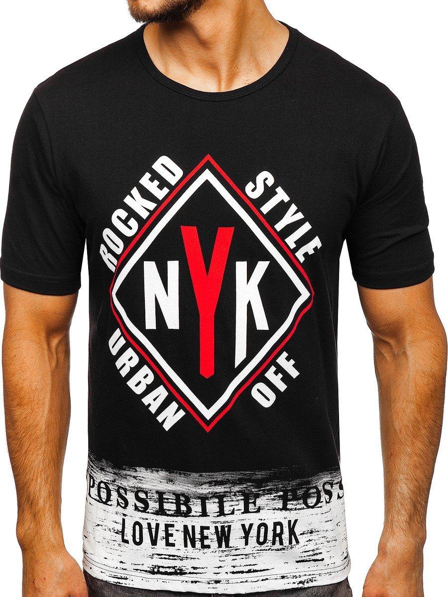 5db77e3af870b Čierne pánske tričko s potlačou BOLF 6305