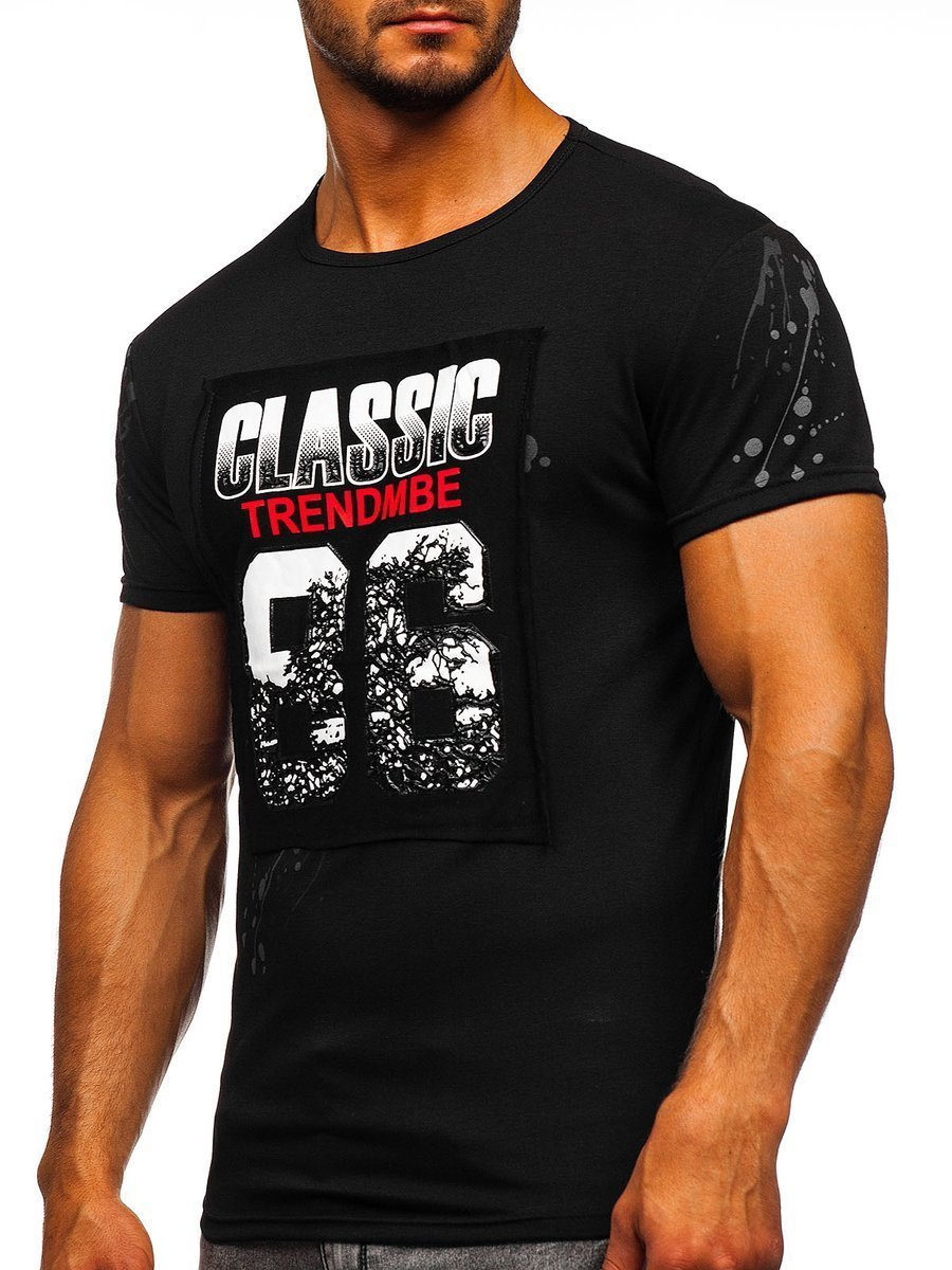 6bc30a2665d93 Čierne pánske tričko s potlačou BOLF SS218