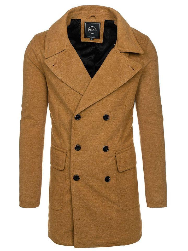 94b472507 Kamelový pánsky zimný kabát BOLF 1048