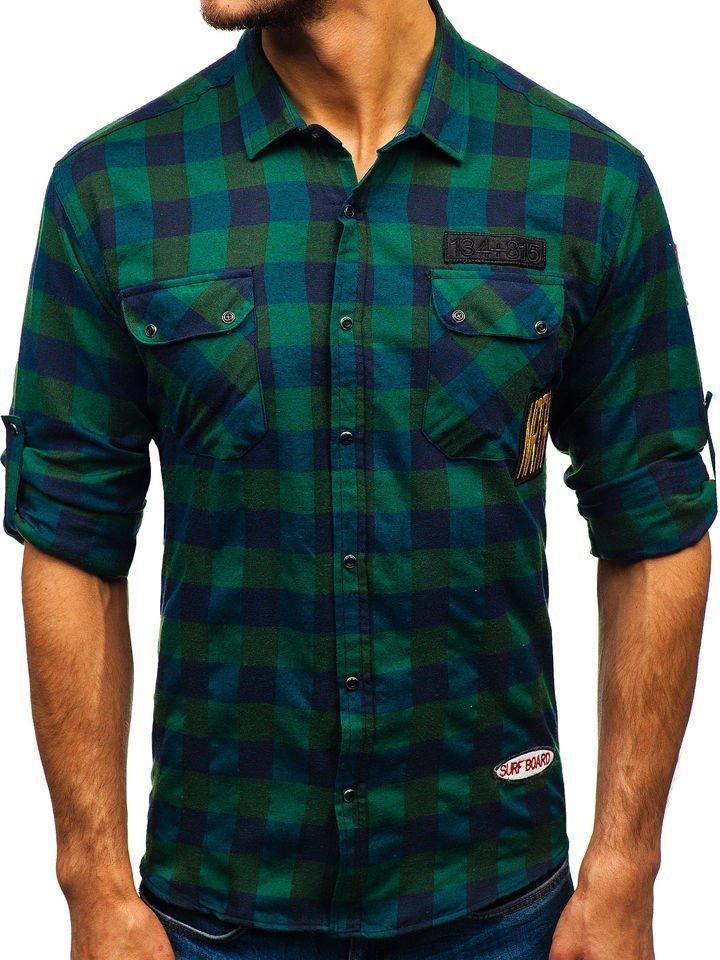 99d2cc6f51be Khaki pánska flanelová košeľa s dlhými rukávmi BOLF 2503