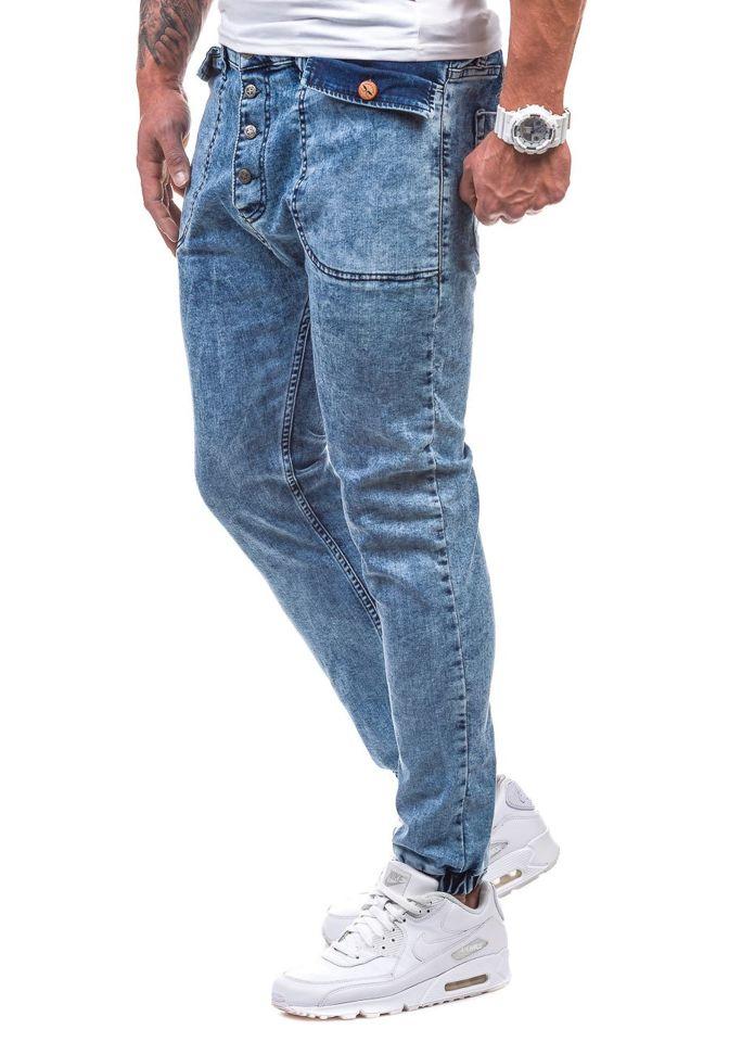 da67ec7174f0 Modré pánske riflové jogger nohavice BOLF 811