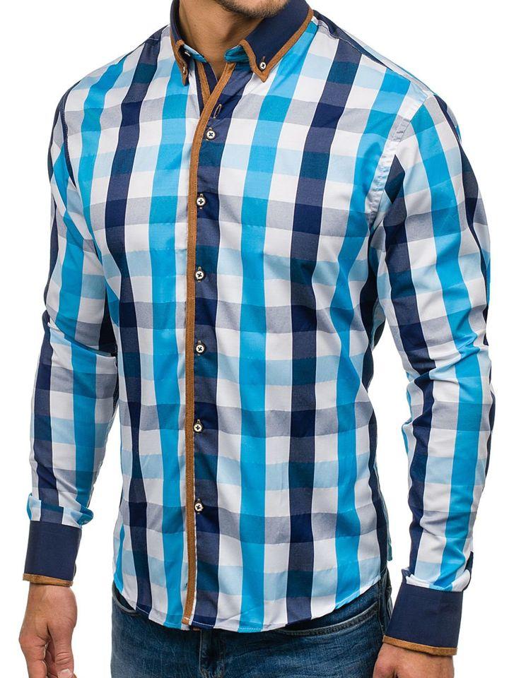 cc740d401f17 Modro-tmavomodrá pánska károvaná košeľa s dlhými rukávmi BOLF 5719