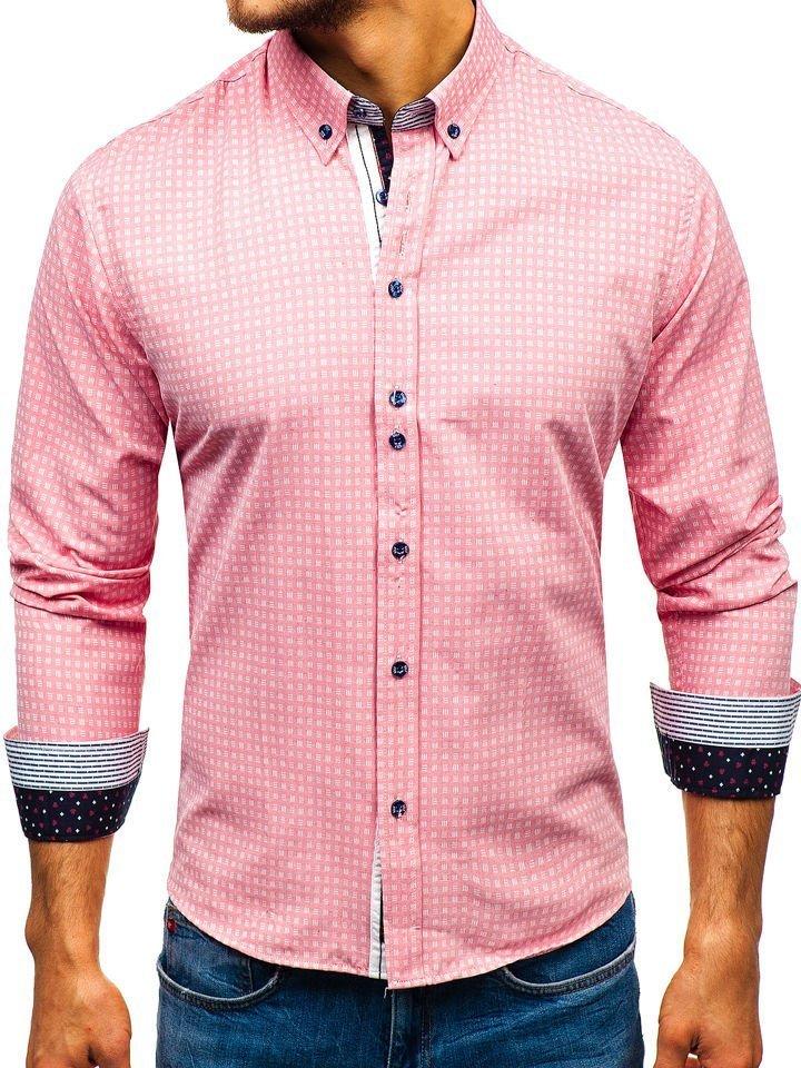 00b8c686fb1f Ružová pánska vzorovaná košeľa s dlhými rukávmi BOLF 8841