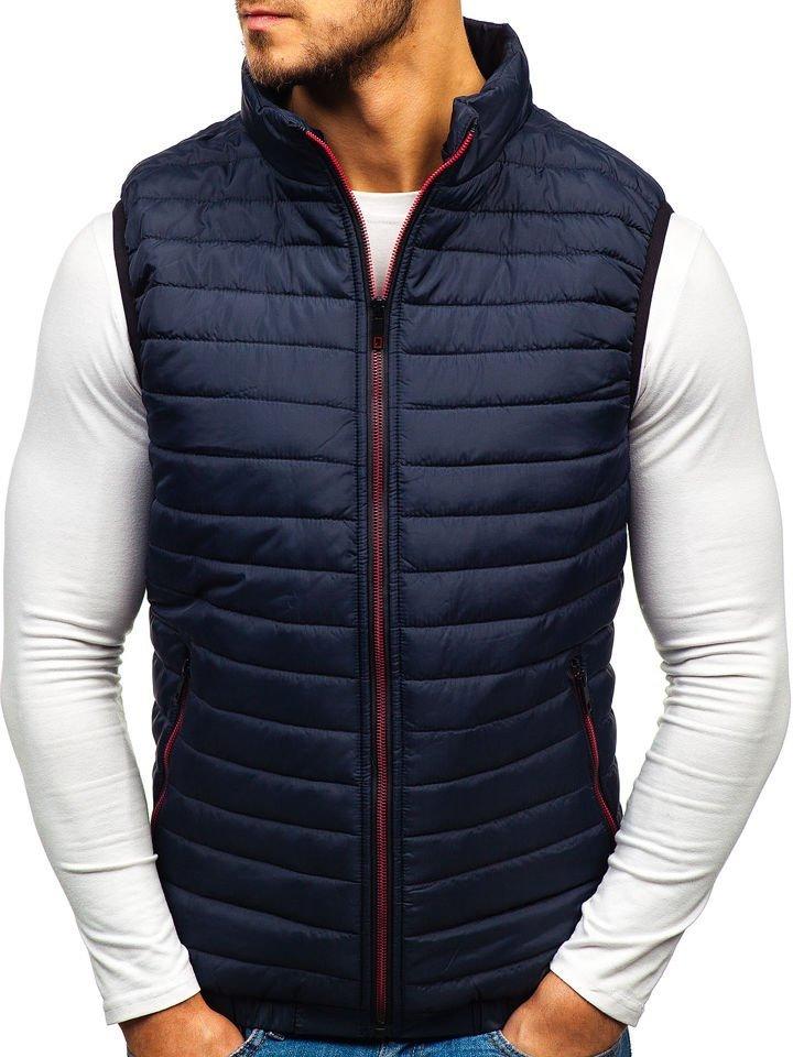 Tmavomodrá pánska prešívaná vesta s kapucňou BOLF 5620 3cfb7a3d4e6