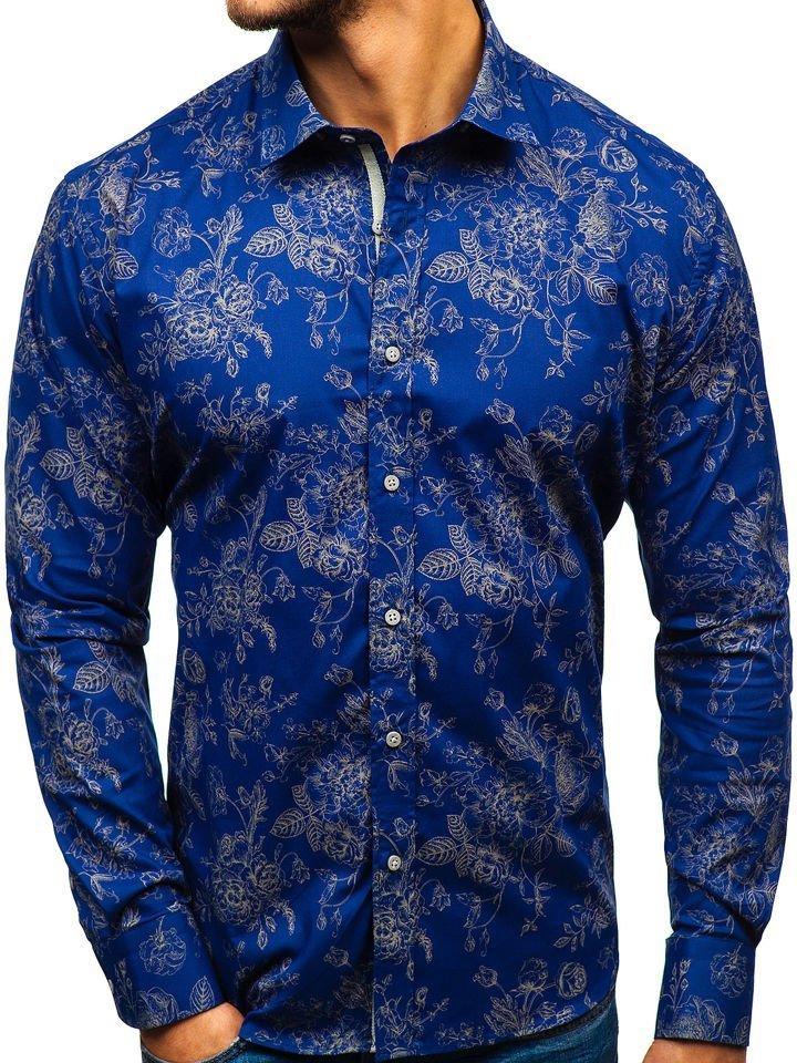 126efa7f0774 Tmavomodrá pánska vzorovaná košeľa s dlhými rukávmi BOLF 470G17