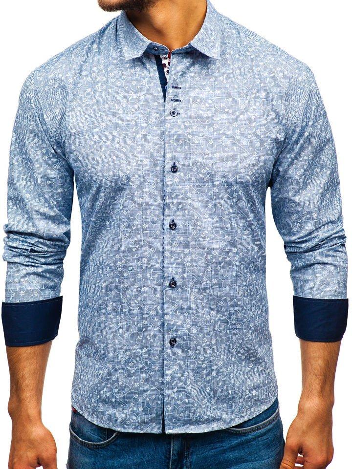 63a8b00cf42b Tmavomodrá pánska vzorovaná košeľa s dlhými rukávmi BOLF 9701