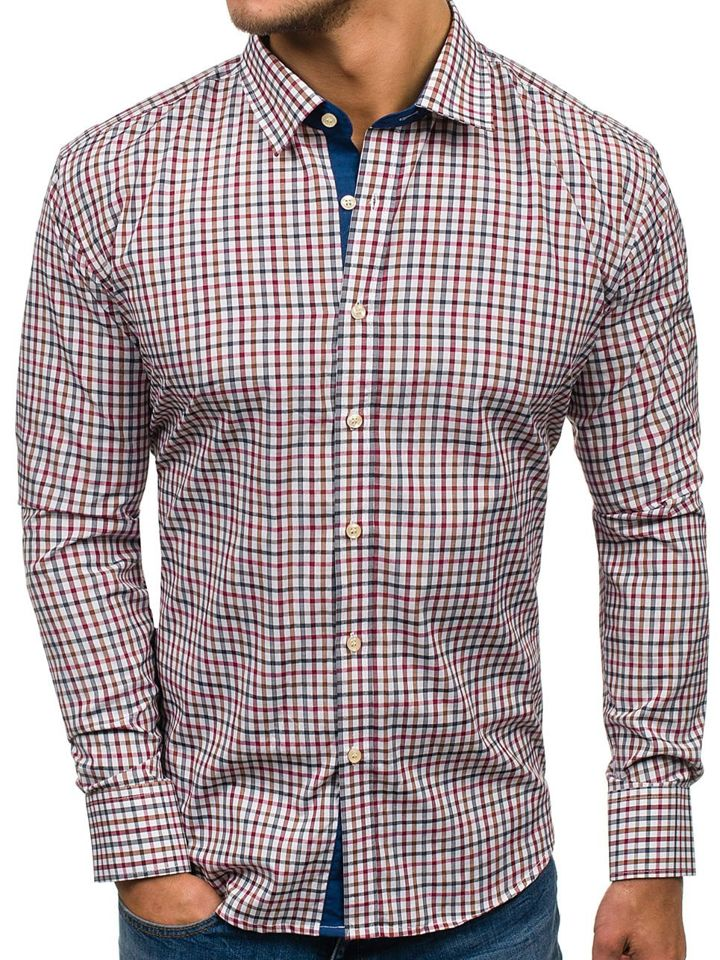 9628588cf81d Tmavomodro-červená pánska károvaná košeľa s dlhými rukávmi BOLF GET6