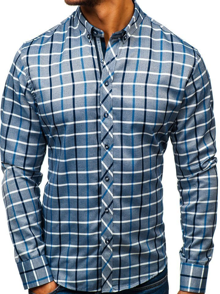 e3d9ff2cda2b Tmavomodro-modrá pánska károvaná košeľa s dlhými rukávmi BOLF 8832