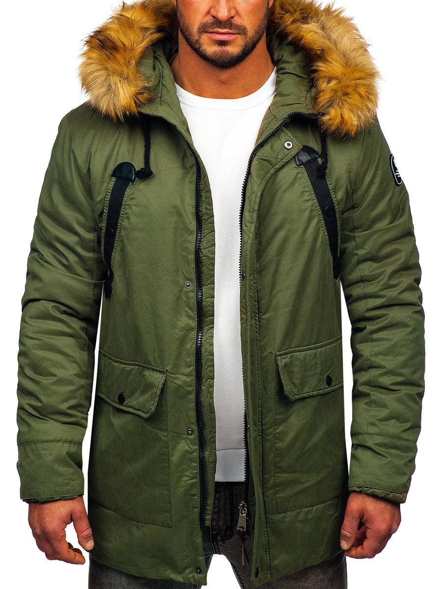 5695549ce Zelená pánska zimná bunda parka BOLF 1791