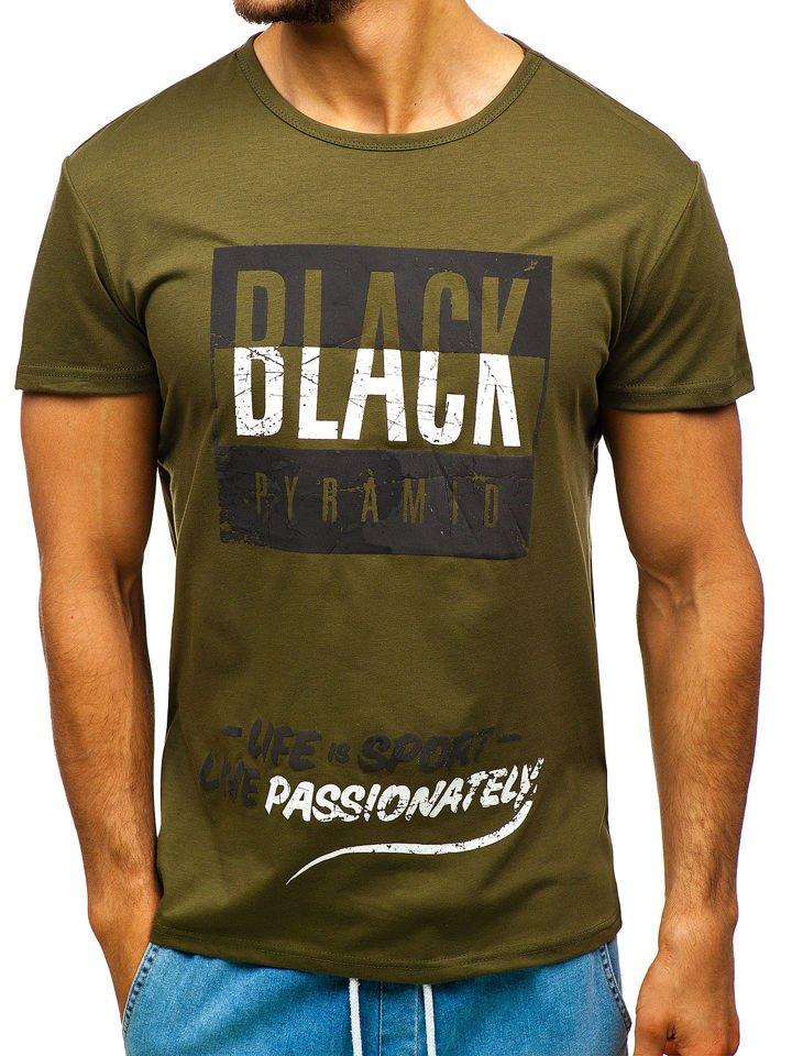 85e1208c2 Zelené pánske tričko s potlačou BOLF 100683
