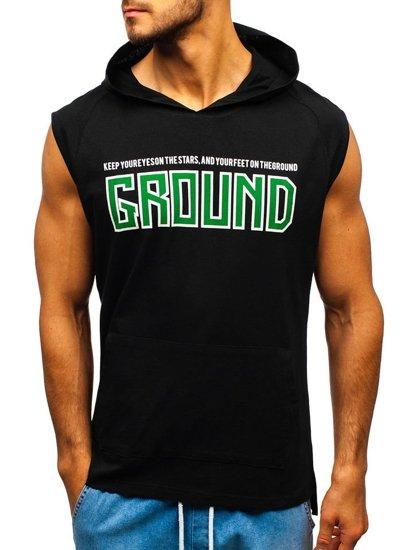 Čierne pánske tričko s potlačou a kapucňou BOLF 2859