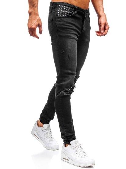 Antracitové pánske riflové jogger nohavice BOLF 2044-1