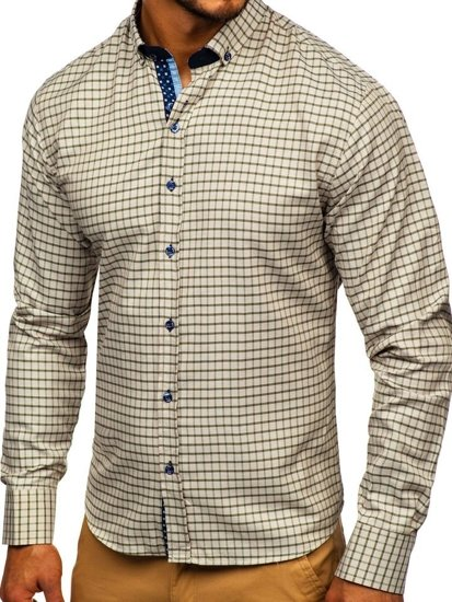 Béžová pánska károvaná košeľa s dlhými rukávmi Bolf 9709