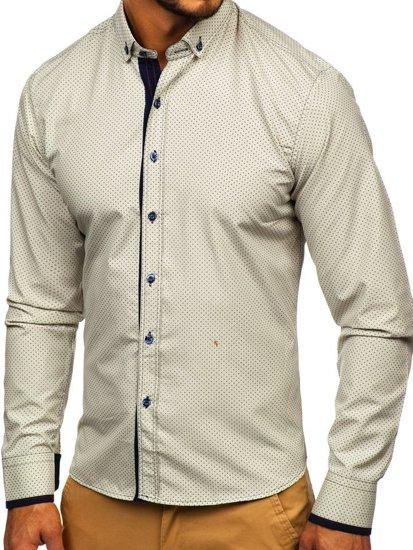 Béžová pánska vzorovaná košeľa s dlhými rukávmi Bolf 9707