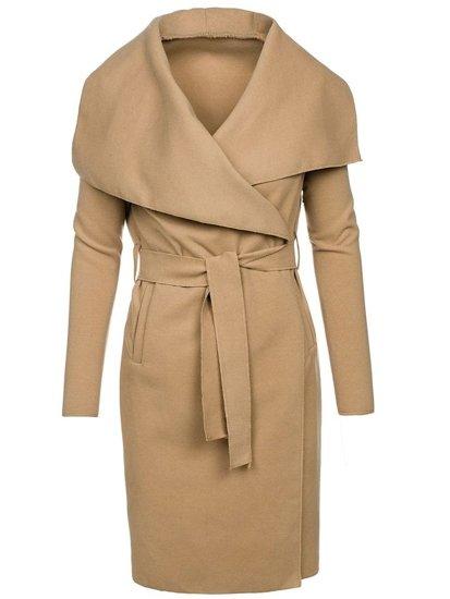 Béžový dámsky dlhý kabát BOLF 1729