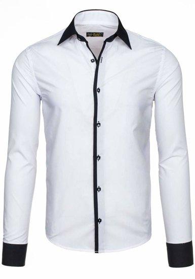 Biela pánska elegantná košeľa s dlhými rukávmi BOLF 2782