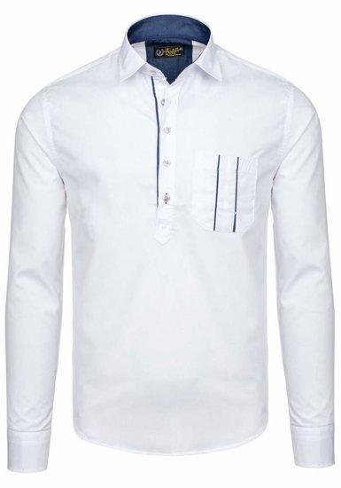 Biela pánska elegantná košeľa s dlhými rukávmi BOLF 5791