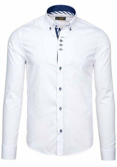 Biela pánska elegantná košeľa s dlhými rukávmi BOLF 5796