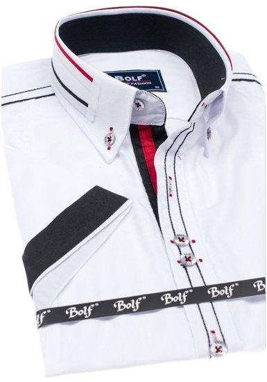 Biela pánska elegantná košeľa s krátkymi rukávmi BOLF 6513