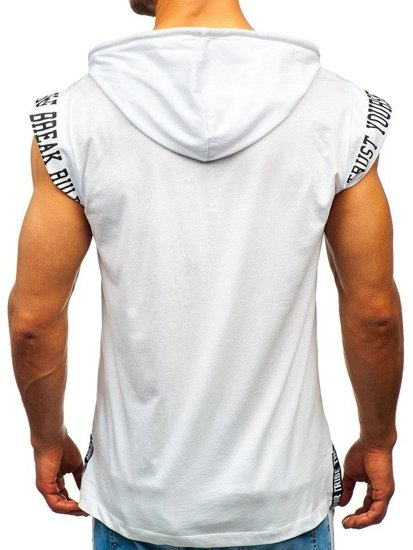 Biele pánske tričko s potlačou a kapucňou Bolf 19100