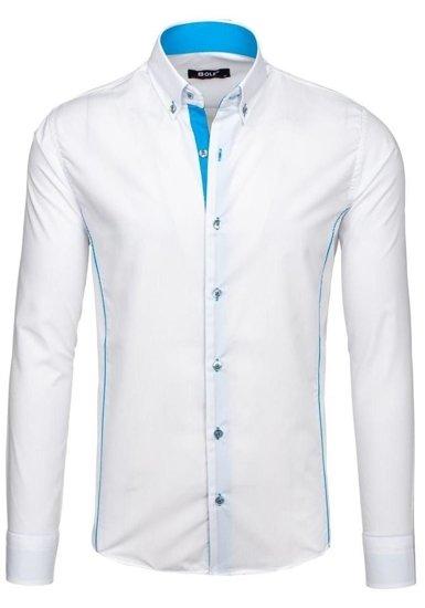 Bielo-blankytná pánska elegantná košeľa s dlhými rukávmi Bolf 5722-1-A