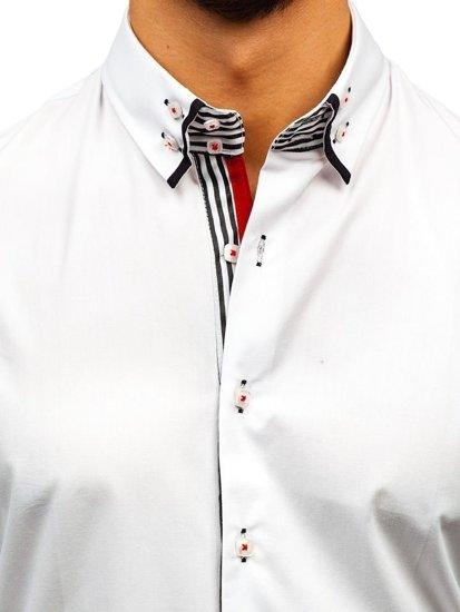 Bielo-čierna pánska elegantá košeľa s dlhými rukávmi BOLF 1747