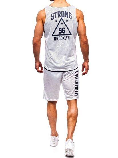 Biely pánsky komplet: tričko + kraťasy  BOLF 100779