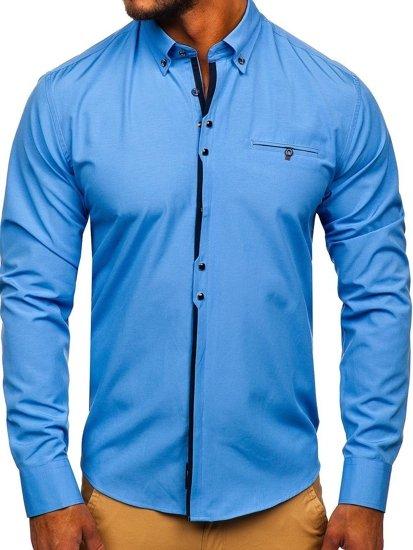 Blankytná pánska elegantá košeľa s dlhými rukávmi BOLF 7720
